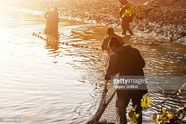 Fishermen with fishing net in french pond at orange sunset
