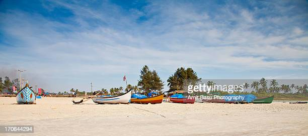 Fishermens' boats. Benaulim Beach, Goa, India