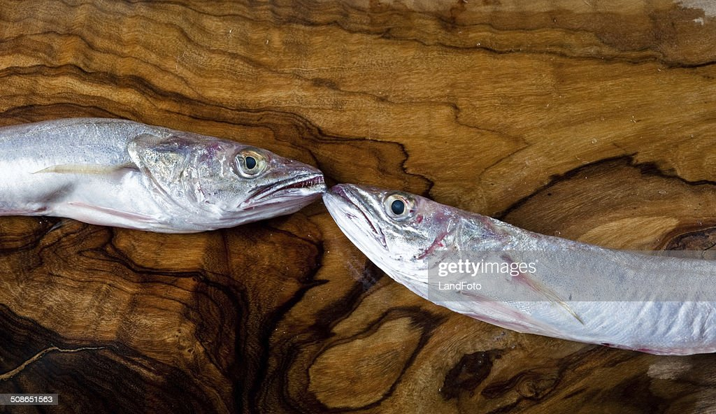 fishes on a wooden tray : Stock Photo