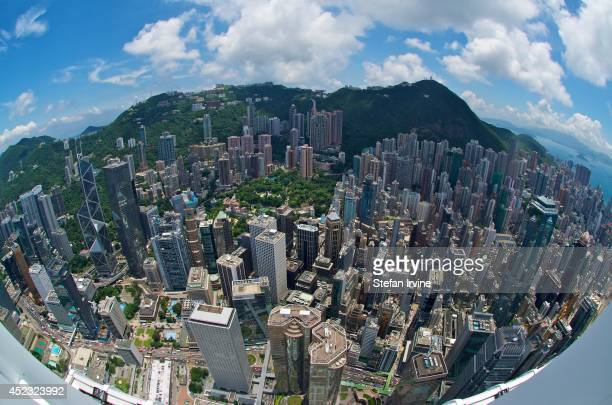 Fisheye aerial view of Hong Kong from the rooftop of IFC 2including the Bank of China Tower the Cheung Kong Centre the HSBC headquarters the...