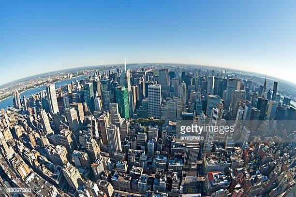 fisheye aerial view on downtown manhattan