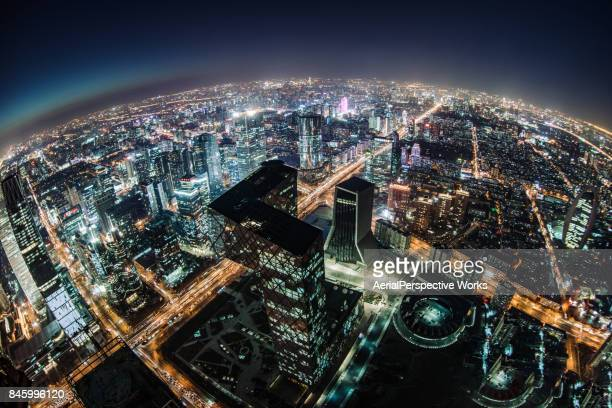Fisheye and Aerial View of Beijing Skyline at Night