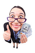 Fisheye happy successful win business woman isolated on a white background with glasses holding  with a wad of money and thumb up.