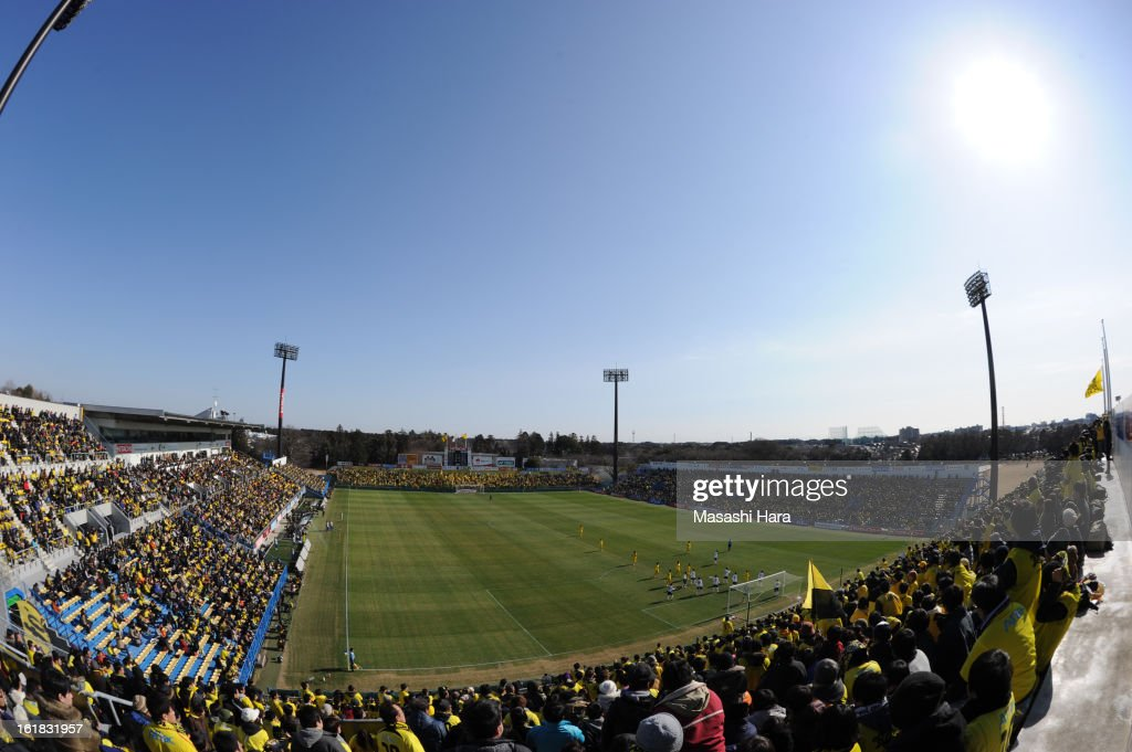 fish-eye Hitachi Kashiwa Soccer Stadium during the pre season friendly between Kashiwa Reysol and JEF United Chiba at Hitachi Kashiwa Soccer Stadium on February 17, 2013 in Kashiwa, Japan.