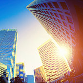 Business Buildings at Sunset