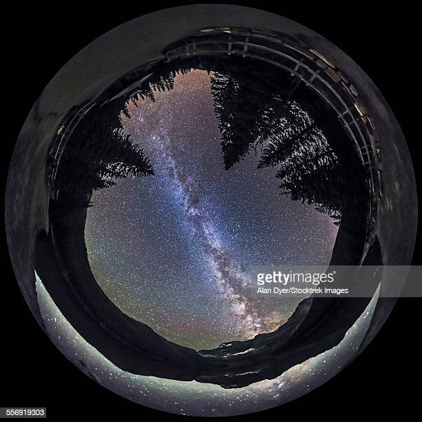 Fish-eye lens panorama of Milky Way at Cameron Lake, Alberta, Canada.
