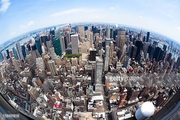 Fisheye vue sur Manhattan