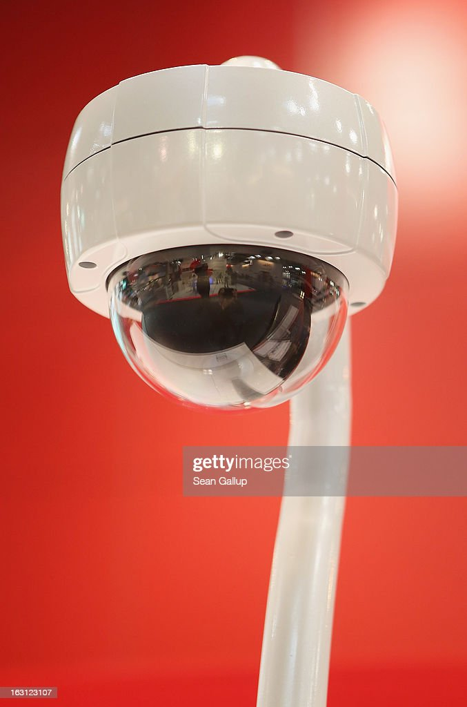 A fisheye surveillance camera is displayed at a stand at the 2013 CeBIT technology trade fair on March 5, 2013 in Hanover, Germany. CeBIT will be open March 5-9.