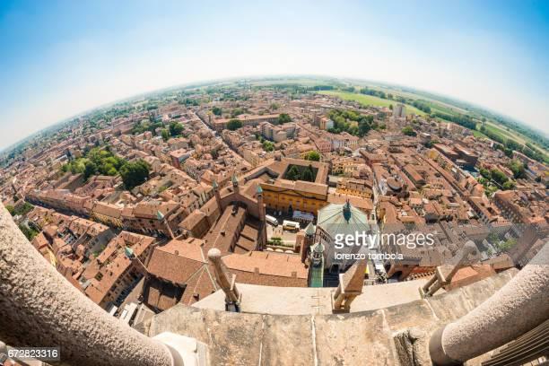 Fish-eye view from Torrazzo bell tower, Cremona