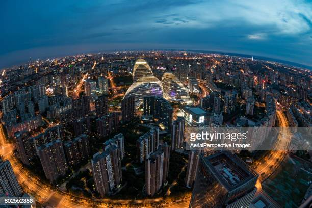 Fish-eye View of Beijing Skyline at Dusk