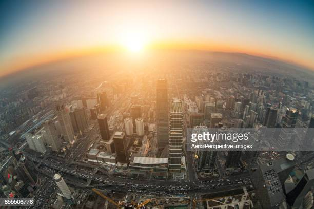 Fisheye View of Beijing Urban Skyline at Sunset
