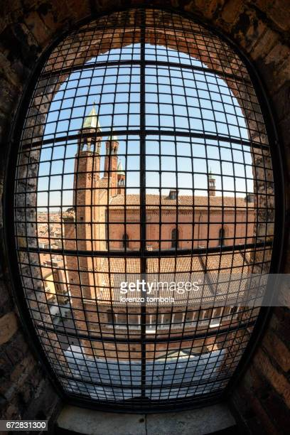 Fish-eye view of Cremona Cathedral from Torrazzo bell tower