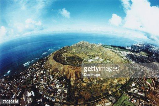 Fisheye view of Diamond Head, Oahu, Hawaii : Stock Photo