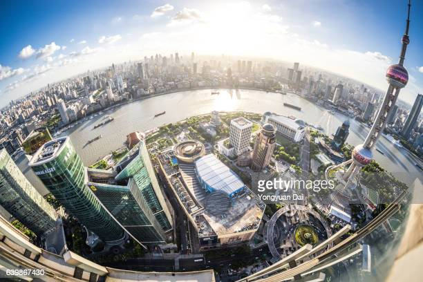 Fisheye View of Downtown Shanghai