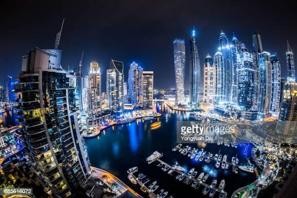 Fisheye View of Dubai Marina at Night