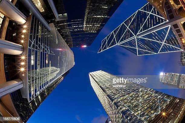 Olho-de-peixe vista de arranha-céus de Hong Kong