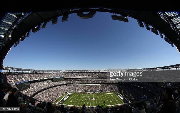A fisheye view of MetLife Stadium during the New York Jets V New England Patriots NFL regular season game at MetLife Stadium East Rutherford NJ USA...