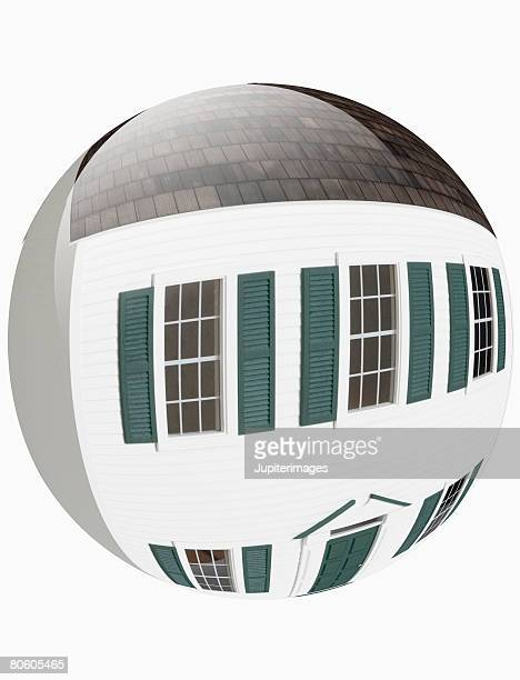 Fish-eye view of miniature house