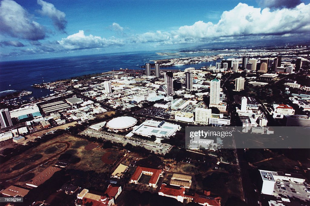Fisheye view of Oahu, Hawaii : Stock Photo
