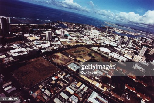 Fisheye view of Oahu, Hawaii : Stock Photo