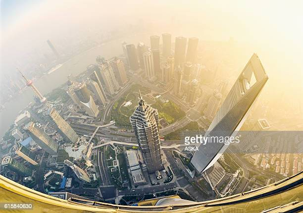 fisheye view of shanghai at sunrise
