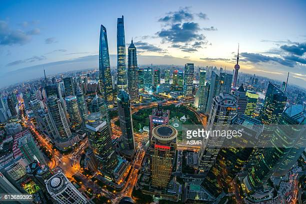 Fisheye view of Shanghai Skyline Sunset