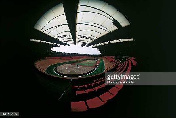 Fisheye view of the Olympic stadium built in Munich for tennis Munich summer 1972