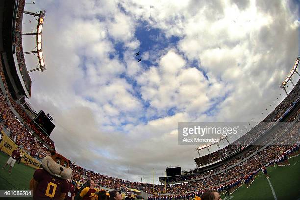 A fisheye view of the stadium during the flyover of the National anthem during the Buffalo Wild Wings Citrus Bowl between the Minnesota Golden...