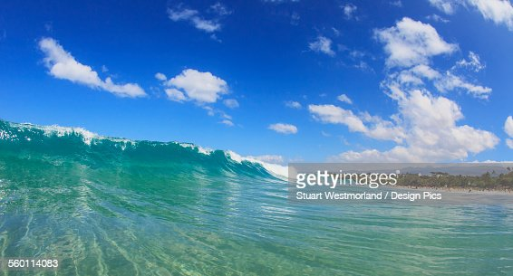Fisheye view of wave breaks at hapuna beach