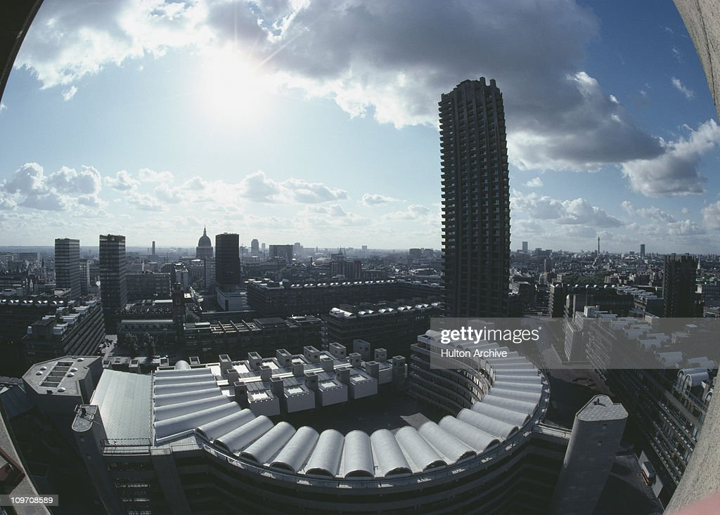 A fisheye view over the Barbican Centre in the City of London circa 1985