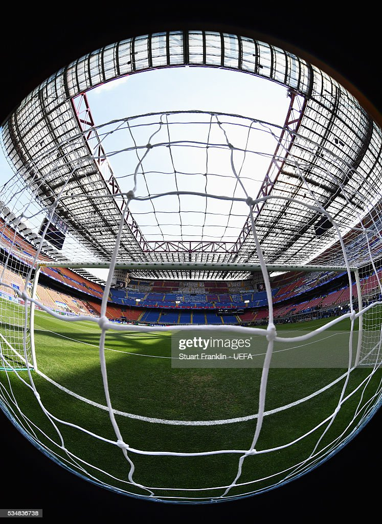 A fisheye view through the net prior to the UEFA Champions League Final between Real Madrid and Club Atletico de Madrid at Stadio Giuseppe Meazza on May 27, 2016 in Milan, Italy.