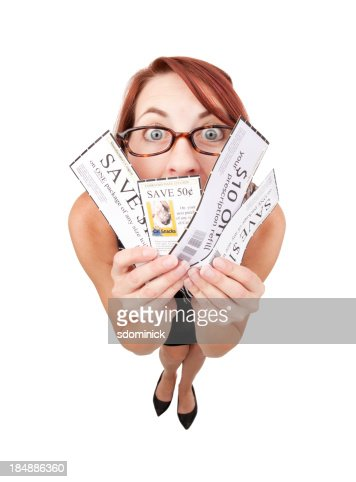Fisheye Woman Holding Coupons