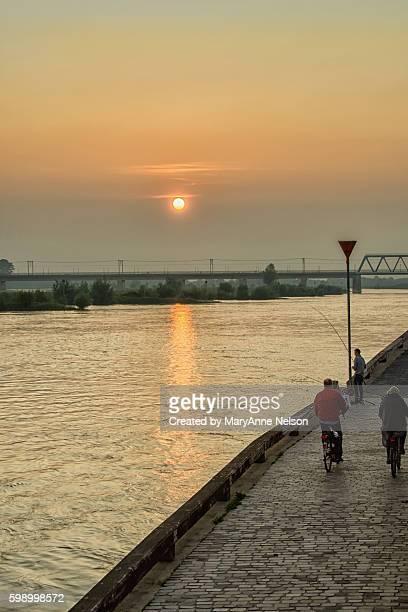 Fishing and Biking at Sunset