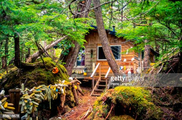 Fishing and Hiking Cabin decorated with Fishing Buoys, near Naikoon Provincial Park, Graham Island in the Haida Gwaii archipelago, British Columbia, Canada