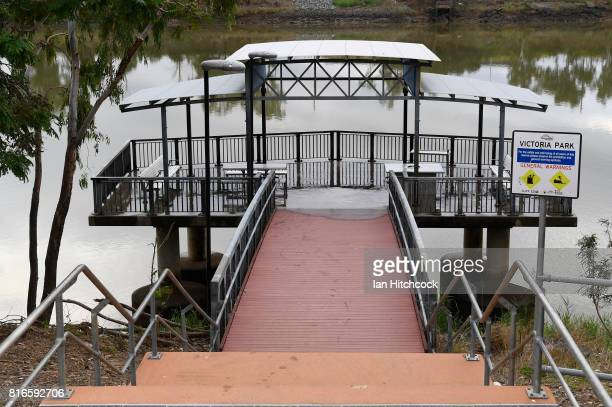 A fishing and viewing platform is seen on the banks of Fitzroy river on July 09 2017 in Rockhampton Australia