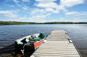 XXL fishing boat and lake