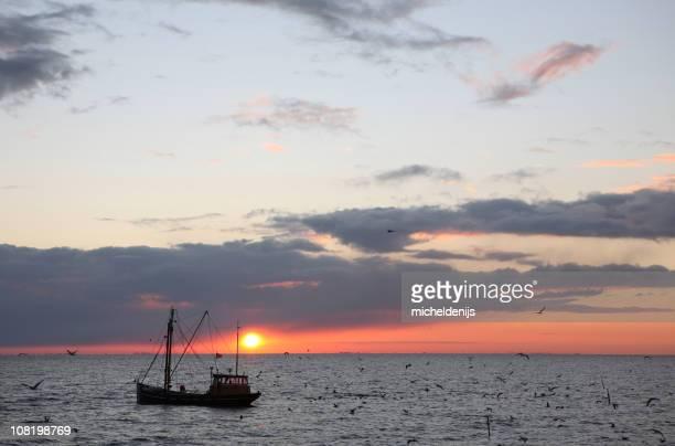 釣り船の日の出
