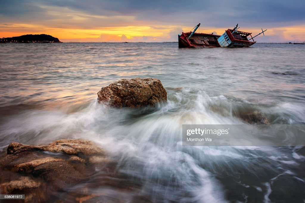 Fishing boat beached