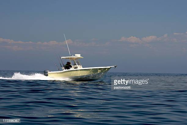 Fishing Boat Going Fast on Pacific Ocean near Catalina Island