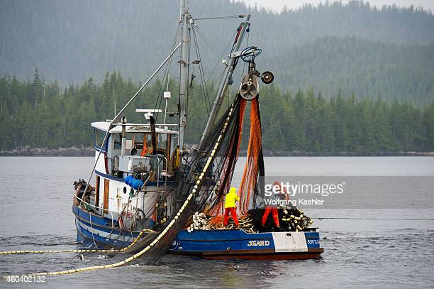 Fishing boat hauling in net at Point Alava Misty Fjords National Monument near Ketchikan in Southeast Alaska USA