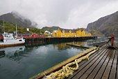 Fishing boat in harbour of Lofoten Islands, Norway