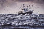 Fishing boat in rough North Sea