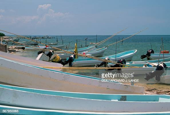 Fishing boat in the Gulf of Mexico near Champoton Campeche Mexico