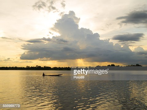 Fishing boat in the River with sunset light. : Stock Photo