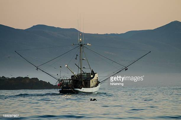 fishing boat leaving harbor, Morro Bay, California