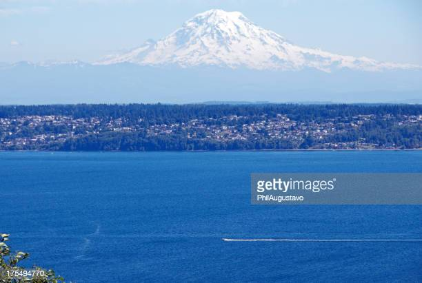 Fishing boat on Puget Sound with Mt Rainier in background