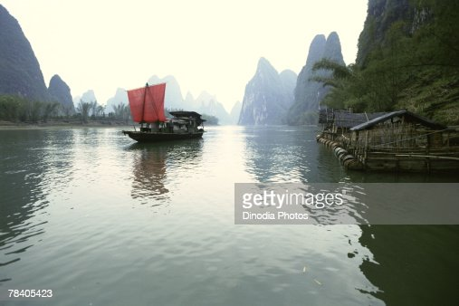 Fishing boat on water, China
