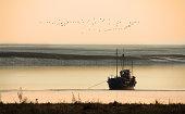 Fishing boat moored at Lytham