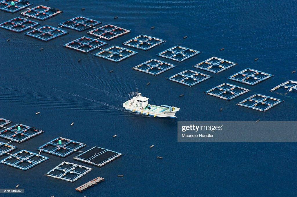 A fishing boat sails through fish pens off Chi chi-Jima Island.