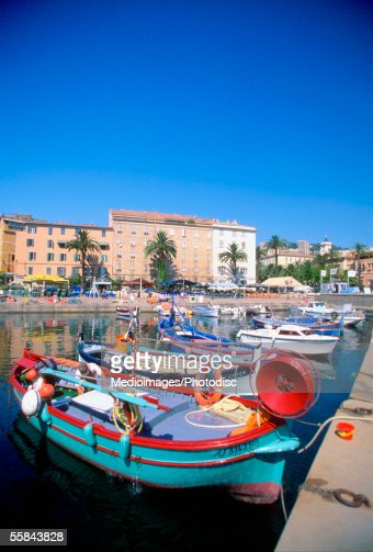 Fishing boats anchored at Ajaccio Harbor, Corsica, France